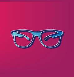 Sunglasses sign   blue 3d vector
