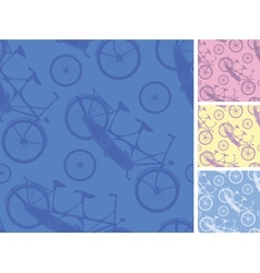 Set of frour tandem bicycles seamless patterns vector