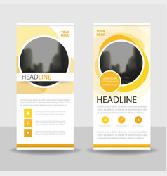 Yellow circle business roll up banner flat vector