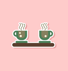 Paper sticker on stylish background coffee cups vector