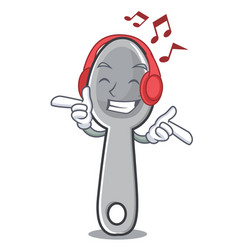 Listening music spoon character cartoon style vector