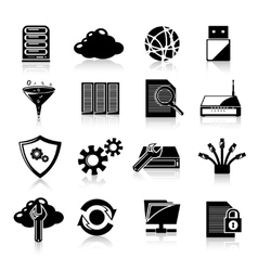 Database icons black vector