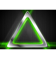 Metal background and green glowing light vector