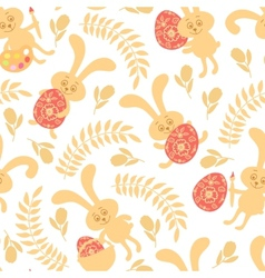 Seamless pattern of easter bunnies vector