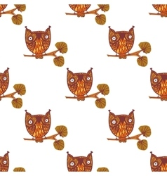Cute little owls seamless pattern vector