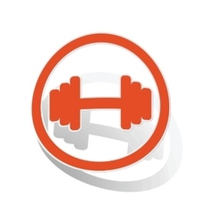 Barbell sign sticker orange vector
