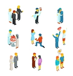 Isometric 3d relationship and wedding people icons vector