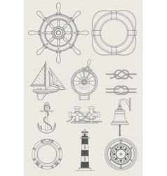 sea ship set icon vector image