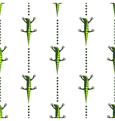 Pattern with lizards on the white backdrop vector