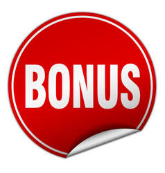 Bonus round red sticker isolated on white vector
