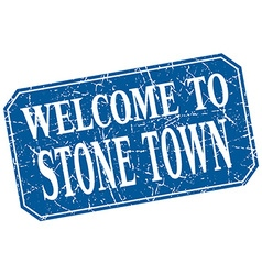 Welcome to stone town blue square grunge stamp vector