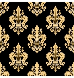 Royal yellow fleur-de-lis seamless floral pattern vector