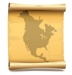 Paper scroll with north america vector