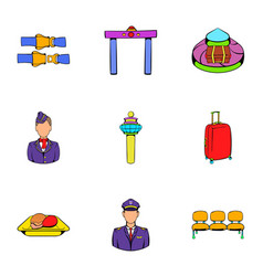 aboard icons set cartoon style vector image vector image