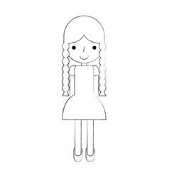 beautiful girl farmer icon vector image