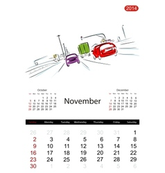 Calendar 2014 november Streets of the city sketch vector image
