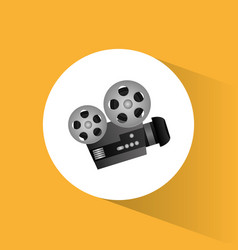 Cinema camera film projector round icon vector