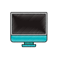 Colored crayon silhouette of lcd monitor vector