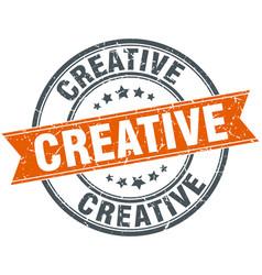 Creative round grunge ribbon stamp vector