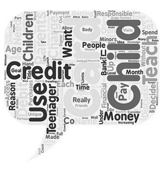 Credit cards for minors text background wordcloud vector