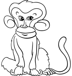 cute monkey cartoon coloring page vector image