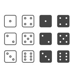 dice icon set symbol vector image vector image
