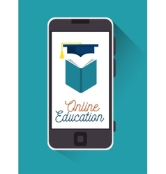 Education online smartphone book graduation design vector