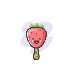 Funny strawberry ice cream icon vector