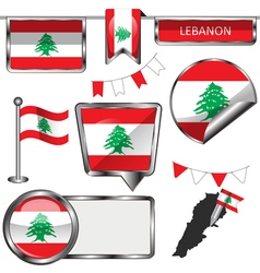Glossy icons with Lebanese flag vector image