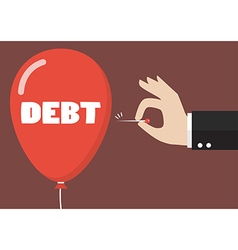 Hand pushing needle to pop the debt balloon vector image