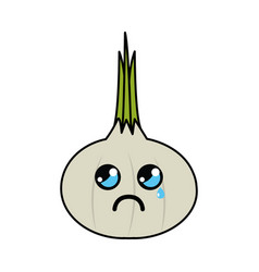 Kawaii nice cry garlic vegetable vector