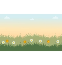 Landscape of grass with flower spring vector