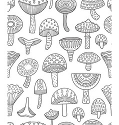 Mushrooms ink seamless pattern coloring book page vector
