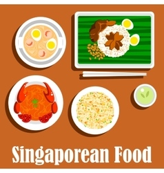 National dishes of singaporean cuisine flat icon vector