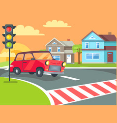 pedestrian crossing with traffic lights on road vector image