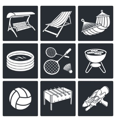 Recreation icon set vector