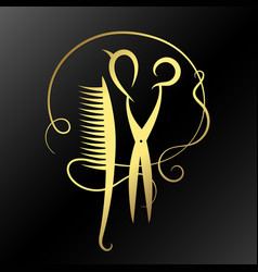 scissors and hairbrush golden vector image vector image