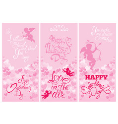 Set of 3 holiday vertical banners with cute angels vector