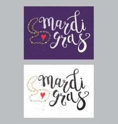 Set of carnival mardi gras brush pen sign mardi vector