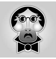 sticker - man with glasses mustache and bow tie vector image vector image