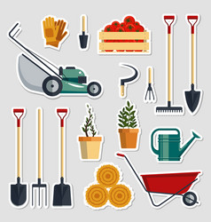 stickers set farm tools flat- vector image vector image