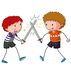 Sword fighting vector image vector image