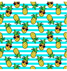 Tropic seamless pattern in cartoon trendy style vector