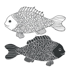Two black and white hand-drawn fish Detailed vector image vector image