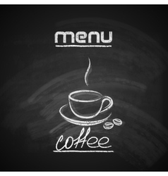 Vintage chalkboard menu design with a coffee cup vector