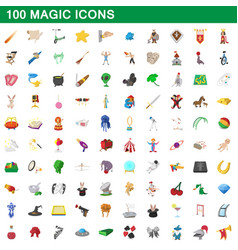 100 magic icons set cartoon style vector
