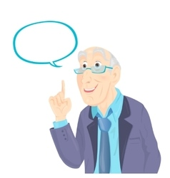 Professor thinking with white bubble vector