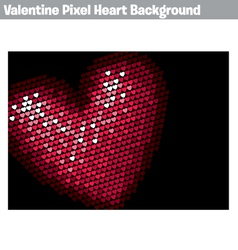 Valentine pixel heart background vector