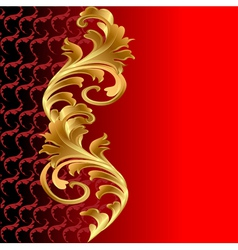 A red background with a gold floral ornament vector