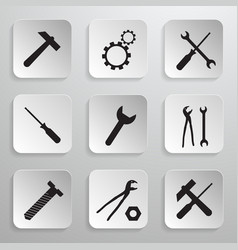 Tools Icons Set Hammer Cog Gear Wrench Screwdriver vector image